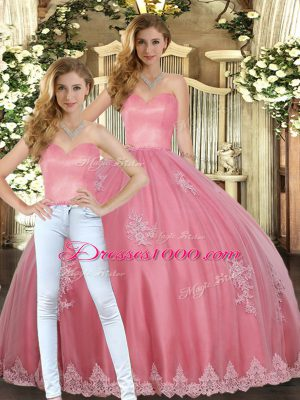 Sweetheart Sleeveless 15 Quinceanera Dress Floor Length Appliques Watermelon Red Tulle