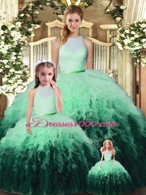 Tulle High-neck Sleeveless Backless Ruffles Sweet 16 Dresses in Multi-color