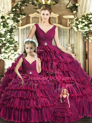 Luxurious Burgundy Ball Gowns Organza V-neck Sleeveless Ruffled Layers Floor Length Backless 15 Quinceanera Dress