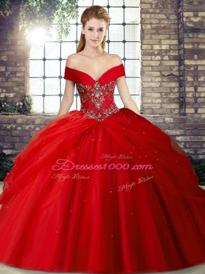 Hot Sale Red Sleeveless Tulle Brush Train Lace Up 15 Quinceanera Dress for Military Ball and Sweet 16 and Quinceanera