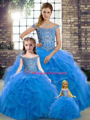 Off The Shoulder Sleeveless Vestidos de Quinceanera Brush Train Beading and Ruffles Blue Tulle