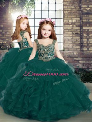 Nice Sleeveless Beading and Ruffles Lace Up Little Girl Pageant Dress