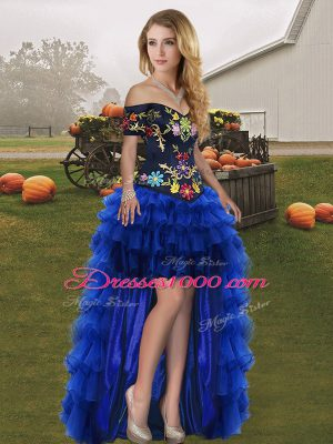 Royal Blue Lace Up Embroidery and Ruffled Layers Sleeveless High Low