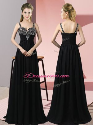 Perfect Chiffon Straps Sleeveless Zipper Beading Prom Evening Gown in Black