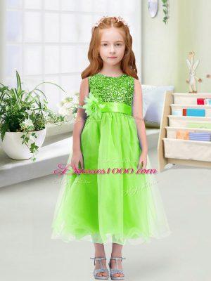 Luxurious Zipper Flower Girl Dress Sequins and Hand Made Flower Sleeveless Tea Length