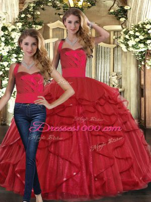 Red Straps Lace Up Ruffles Sweet 16 Quinceanera Dress Sleeveless
