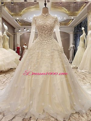 Appliques Wedding Dress White Lace Up Long Sleeves Court Train
