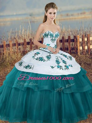 Teal Quinceanera Dresses Military Ball and Sweet 16 and Quinceanera with Embroidery and Bowknot Sweetheart Sleeveless Lace Up