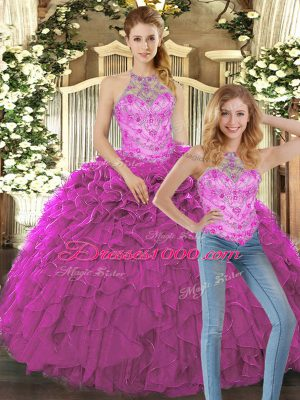 Organza Halter Top Sleeveless Lace Up Beading and Ruffles Quince Ball Gowns in Fuchsia