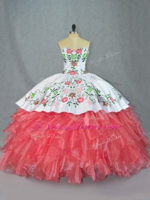 Custom Design Sweetheart Sleeveless Lace Up Quinceanera Dresses Watermelon Red Satin and Organza