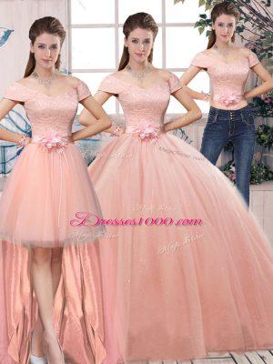 Floor Length Pink Sweet 16 Dresses Off The Shoulder Short Sleeves Lace Up