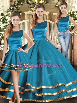 Teal Sweet 16 Quinceanera Dress Military Ball and Sweet 16 and Quinceanera with Ruffled Layers Scoop Sleeveless Lace Up