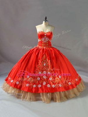 Fantastic Red Lace Up Ball Gown Prom Dress Embroidery Sleeveless Floor Length