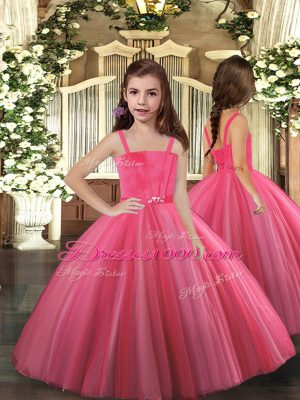 Attractive Hot Pink Ball Gowns Beading Custom Made Lace Up Tulle Sleeveless Floor Length