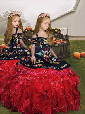 Red Organza Lace Up Kids Formal Wear Sleeveless Floor Length Embroidery and Ruffles
