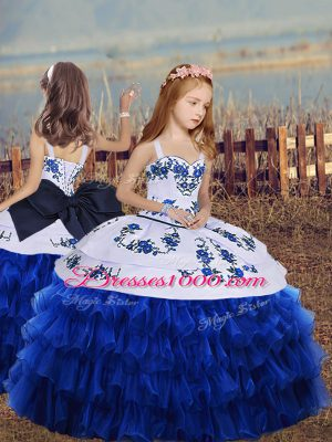 Low Price Straps Long Sleeves Girls Pageant Dresses Floor Length Embroidery and Ruffled Layers Royal Blue Organza