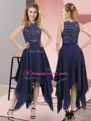 Decent Empire Homecoming Dress Navy Blue High-neck Chiffon Sleeveless Asymmetrical Zipper