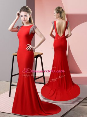 Red Short Sleeves Beading Backless Evening Dress