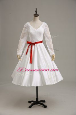 White Satin Clasp Handle Wedding Gown Long Sleeves Tea Length Lace and Sashes ribbons