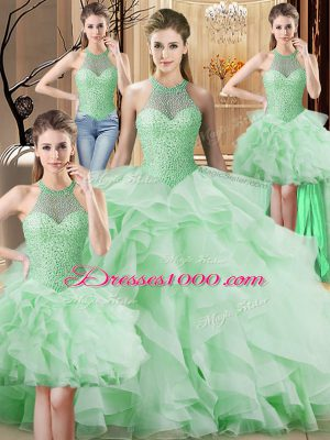 Sumptuous Apple Green Ball Gowns Halter Top Sleeveless Organza Brush Train Lace Up Beading and Ruffles Quinceanera Gown