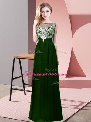 Dark Green Empire Chiffon Scoop Sleeveless Beading Floor Length Backless Pageant Gowns