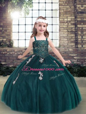 Top Selling Teal Tulle Lace Up Spaghetti Straps Sleeveless Floor Length Teens Party Dress Appliques