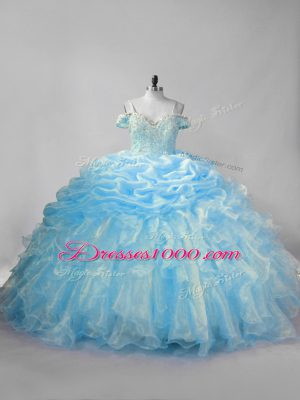 New Arrival Sleeveless Brush Train Lace Up Beading and Ruffles and Pick Ups Quinceanera Dress