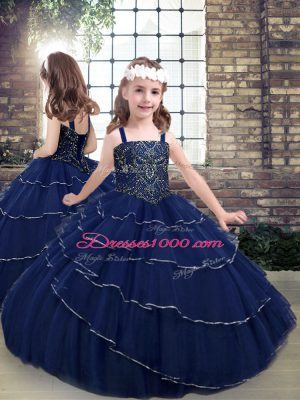 New Style Tulle Straps Sleeveless Lace Up Beading Kids Formal Wear in Navy Blue
