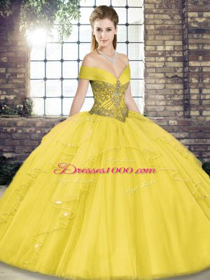 Gold Ball Gowns Tulle Off The Shoulder Sleeveless Beading and Ruffles Floor Length Lace Up Quinceanera Gowns