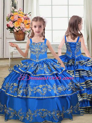 Royal Blue Satin Lace Up Pageant Gowns For Girls Sleeveless Floor Length Embroidery and Ruffled Layers