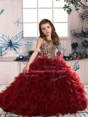 Custom Made Wine Red Ball Gowns Beading and Ruffles Little Girls Pageant Dress Wholesale Lace Up Organza Sleeveless Floor Length