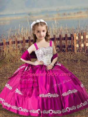 Ball Gowns Little Girl Pageant Dress Hot Pink Straps Satin Sleeveless Floor Length Lace Up