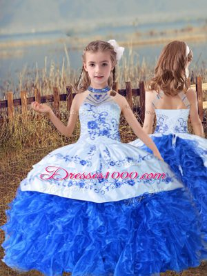 Custom Design Blue And White Organza Lace Up Little Girls Pageant Gowns Sleeveless Floor Length Beading and Embroidery and Ruffles