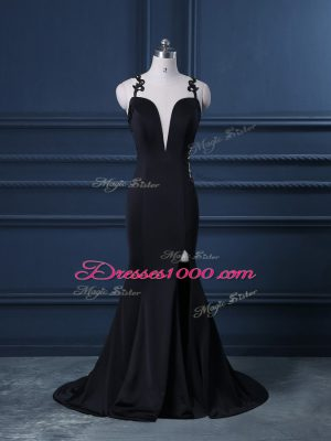 High Class Black Going Out Dresses Straps Sleeveless Brush Train Zipper