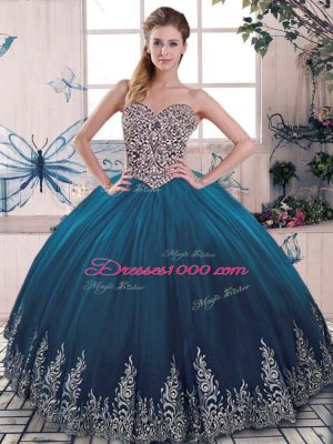 Blue Sleeveless Floor Length Beading and Appliques Lace Up Vestidos de Quinceanera