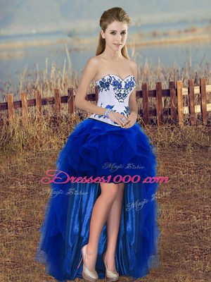 Sophisticated Tulle Sleeveless High Low Pageant Gowns and Embroidery and Ruffles
