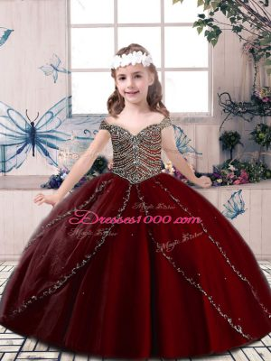 Wine Red Tulle Lace Up Spaghetti Straps Sleeveless Floor Length Pageant Gowns For Girls Beading