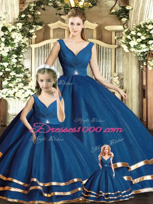 Affordable Tulle V-neck Sleeveless Backless Beading and Ruffled Layers 15 Quinceanera Dress in Navy Blue