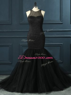 Popular Black Mermaid Beading Homecoming Dress Zipper Tulle Sleeveless Floor Length