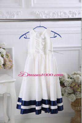 Excellent White Satin Zipper Scoop Sleeveless Tea Length Flower Girl Dresses Ruffles