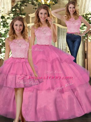 Latest Lace 15th Birthday Dress Hot Pink Zipper Sleeveless Floor Length