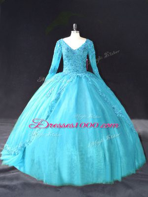 Inexpensive Aqua Blue Lace Up V-neck Lace and Appliques Sweet 16 Dresses Tulle Long Sleeves