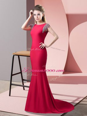 High-neck Short Sleeves Elastic Woven Satin Prom Gown Beading Brush Train Backless