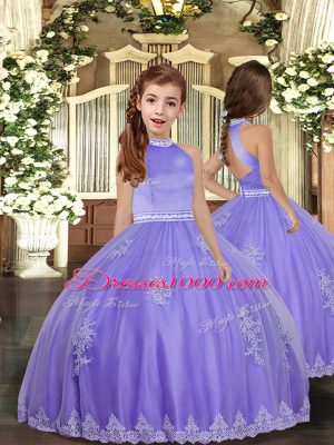 New Style Lavender Backless Little Girl Pageant Dress Appliques Sleeveless Floor Length