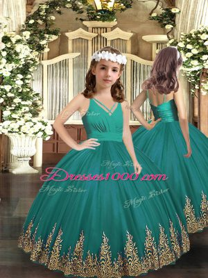 High Class Turquoise Ball Gowns Embroidery Party Dress Wholesale Zipper Tulle Sleeveless Floor Length