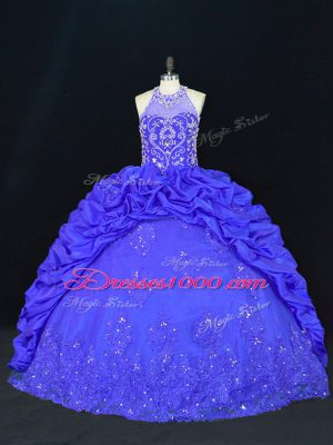 Floor Length Royal Blue Ball Gown Prom Dress Taffeta Sleeveless Beading and Appliques and Embroidery and Pick Ups