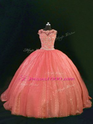 Beauteous Orange Sleeveless Tulle Lace Up Vestidos de Quinceanera for Sweet 16 and Quinceanera