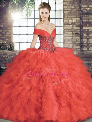 Super Sleeveless Beading and Ruffles Lace Up Sweet 16 Dress