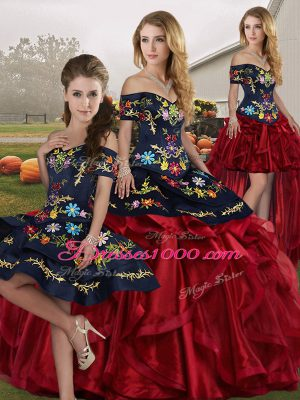 Fantastic Sleeveless Organza Floor Length Lace Up Sweet 16 Quinceanera Dress in Red And Black with Embroidery and Ruffles