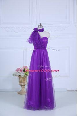 Eggplant Purple Sleeveless Ruching Floor Length Quinceanera Dama Dress